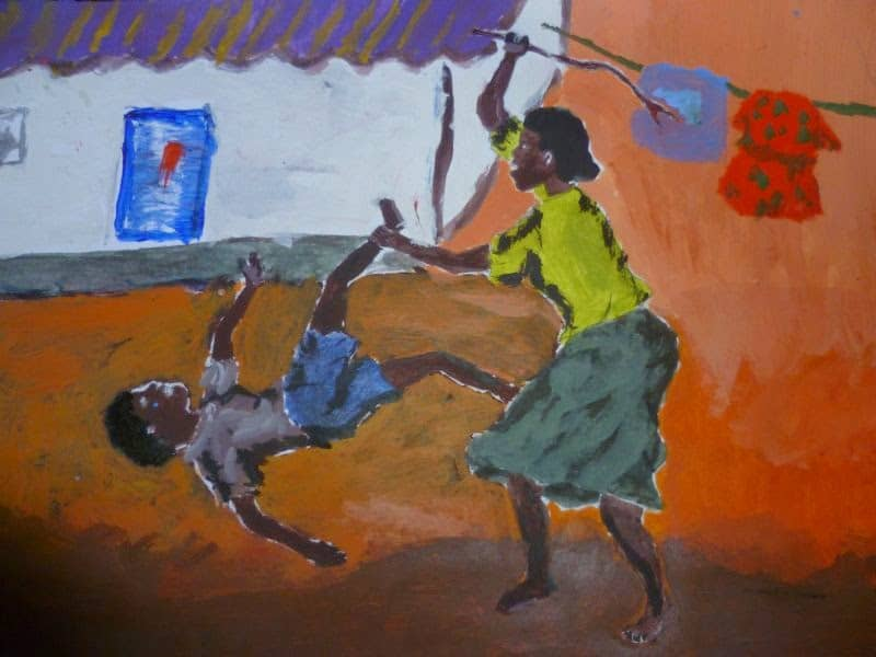 این نقاشی نشاندهنده کتک خوردن کودک توسط مادر است.اگر کودکان را آزاد بگذارید ،بخوبی مشکلاتشان را در نقاشیهایشان نشان میدهند.کودکان گلایه نمی کنند اما با نقاشی سخن می گویند.